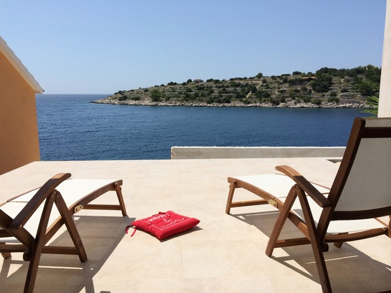 View to the see from the outdoor terrace with deck chairs - apartment by the sea, Korcula
