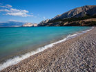 Wonderful pebble beach in Baska town